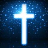 Cross on blue background Stock Photography