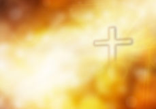 Cross. Blurred Bokeh with Holy Cross and the evening light Royalty Free Stock Photo