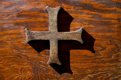 Cross   brass   castiglione olona varese italy Royalty Free Stock Images