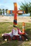 Cross of brazilian basic communities. On the beach Stock Photo