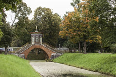 Cross the bridge. Alexander Park. Tsarskoye Selo. Russia. Cross the bridge spanned the Cross channel. Construction completed in 1779. The bridge stands on four Royalty Free Stock Photography