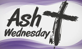 Cross in Brushstroke Style and Purple Waves Commemorating Ash Wednesday, Vector Illustration. Banner with cross in brushstroke style for Ash Wednesday Royalty Free Stock Photography