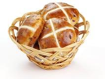 Cross buns. Basket with fresh hot cross buns Stock Photo