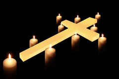 Cross and burning candle 4 Royalty Free Stock Images