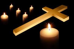 Cross and burning candle 3 Royalty Free Stock Photos