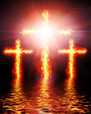 Cross burning in fire. Picture with cross burning in fire Royalty Free Stock Photo