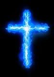 Cross burning in fire. Cross burning in a blue fire stock illustration