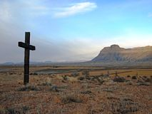 Cross with Butte Stock Image