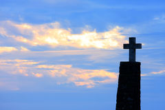 Cross of Cabo da Roca at sunset, Portugal Stock Images