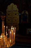 Cross and candles Royalty Free Stock Image