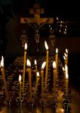 Cross and candles Stock Photo