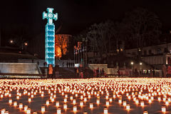 Cross And Candles At The Freedom Square Stock Images
