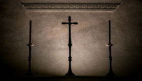Cross and candles Royalty Free Stock Photography