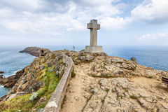 Cross on the cape Pointe du Decolle, France Royalty Free Stock Image