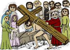 Cross carrying. Vector illustration of Jesus with cross Stock Photos