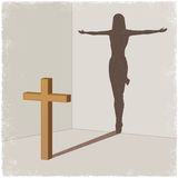Cross casting shadow of Jesus Christ Stock Image