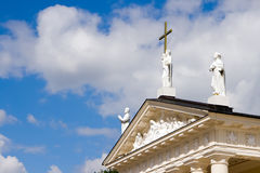 Cross on the Cathedral. Religious cross on the Cathedral in Vilnius - capital of Lithuania Stock Photo