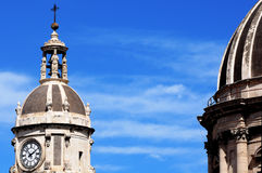 Cross, in cathedral of Catania. Domes of the cathedral in Catania, sicilian town stock image