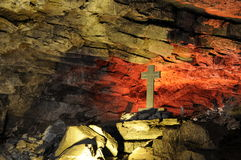 Cross in cave Royalty Free Stock Photos