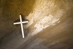 Cross in cave at georgian monastery royalty free stock photography