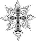 Cross in celtic style with flames of fire Stock Photography