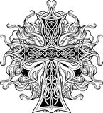 Cross in celtic style with ribbons of fire Royalty Free Stock Photos