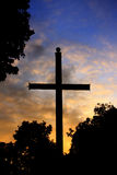 Cross on the cemetery. Cross in the night on the cemetery Stock Photos