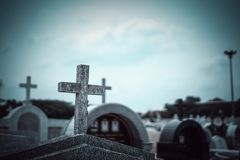 Cross in the cemetery Peaceful. And serene afterlife royalty free stock images