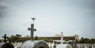 Cross in the cemetery Peaceful. And serene afterlife stock photos