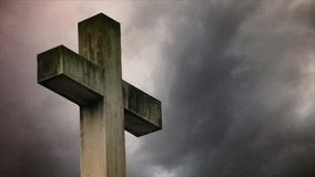 Cross on the cemetery stock footage