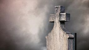 Cross on the cemetery. stock video footage