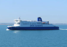 Cross Channel Ferry. DUNKERQUE, FRANCE, AUGUST 22 2015: A DFDS seaways ferry crossing the English Channel. DFDS is Danish owned and is Northern Europe's largest Stock Image