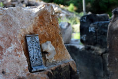Cross in the Chapel Poxos Petros in Akunq, Armenia Royalty Free Stock Photography
