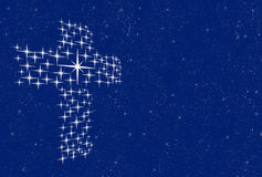 Cross of christ in starry sky  Stock Photo