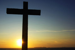 Cross of Christ to the Sunset. Cross of Christ to the Sunset at Portugal Stock Photo