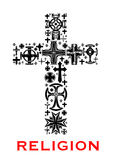 Cross with christian and celt religious symbols vector illustration