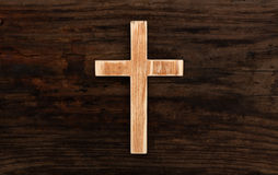 Cross christian wood wooden background old. Rustic Stock Photo