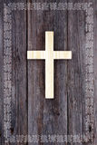 Cross christian wooden background celtic border Royalty Free Stock Image