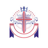Cross of Christianity graphic emblem. Heraldic vector design ele Royalty Free Stock Images