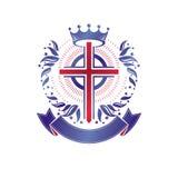 Cross of Christianity graphic emblem. Heraldic vector design ele Stock Photos