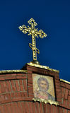 The cross on the Church on blue sky background. The cross on the Church on sky background Stock Images