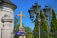 Cross beside The Church of the Holy Great-Martyr George in Novi Stock Photography