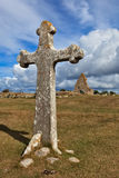 The cross and the church ruins of Kapelludden. Öland, Sweden royalty free stock photo
