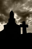 Cross and church silhouettes Stock Photography