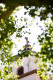 Cross on church steeple. Christian cross on the steeple of a church through tree branches Royalty Free Stock Images