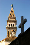 Cross & church tower Royalty Free Stock Photography