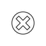 Cross in circle line icon, outline vector sign Royalty Free Stock Photos