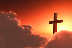 Cross in clouds. 3D illustration stock illustration