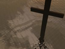Cross on clouds background - 3d render Stock Photography
