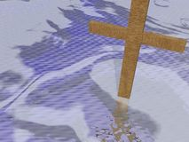 Cross on clouds background - 3d render Stock Image